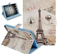 Painted Effiel Tower Pattern PU Leather Flip Protective Case Cover with Stand for iPad mini