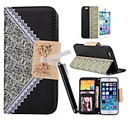 KARZEA™Hanging Chain Pocket Design PU Leather Metal Bow Magnetic Snap Cover Case for iPhone 6(Assorted Colors)