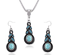 Retro sapphire diamond necklace Earrings Set