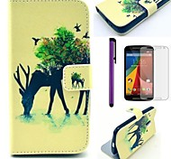 Reindeer and Bird Pattern PU Leather Case with Screen Protector and Stylus for Motorola Moto G2