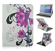 Purple Petunias Rotation Pattern PU Leather Full Body Case with Card Slot for Samsung Galaxy Tab 4 10.1 T530