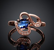 Fashion Exquisite Sapphire Zircon Ms 18 K Rose Gold Ring Love Gift