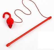 Cat Toy Pet Toys Teaser Feather Toy Mouse Red Textile