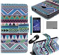 Коко fun® треугольник Trible шаблон PU кожаный чехол с защитой экрана, USB кабель и стилус для Sony Xperia м2 s50h
