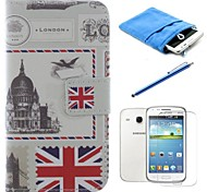 British Style PU Leather Full Body Case with Stylus and Film and Soft Pouch for Samsung Galaxy Core I8262