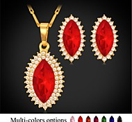 ojos u7®rhinestone colgante de collar aretes plateados oro verdadero 18k 7 colores de lujo de la joyería de la piedra