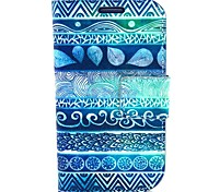 Blue Fingerprint Flowers Pattern PU Leather with Case and Card Slot for Samsung S3 Mini I8190