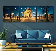 E-HOME® European Architecture Nightscape Clock in Canvas 3pcs