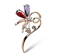 High-Grade Zircon Crystal Diamond   Heart Brooch