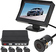 4 Sensors Car Parking Sensor Auto Reverse Radar Detector System with Rear View Monitor (Buzzer, Rear View Camera)