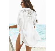 Women's Fashion Solid Chiffon Hollow crochet Swimwer Bikini Beach Cover Up Sun Prevention Shirt