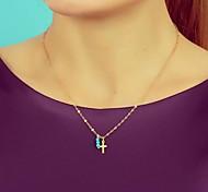 Fashionable Simulated Turquoise Cross Pendant Short Necklace