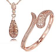 Rosa de 18 quilates chapado en oro de la pulsera del collar