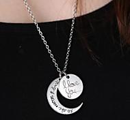 unisex sol de la manera y la luna colgante collar pendiente de la aleación de plata (plata, oro) (1 unidad)