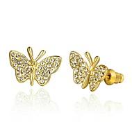 Mode-Kristall Schmetterling goldenen vergoldeten Ohrstecker (goldenen) (1 Paar)