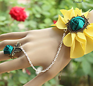 Eruner®2014 New Boutique Lace Yellow Flower Bracelet Ring Integrally Chain