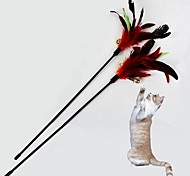Cat Pet Toys Teaser / Feather Toy Bell Black Textile