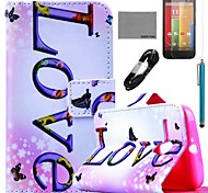 COCO FUN® Horizontal Love Pattern PU Leather Full Body Case with Film and USB Cable and Stylus for Motorala Moto G