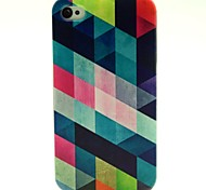 Square Pattern PU Leather Full Body Case with Card Slot and Stand for iPhone 4S