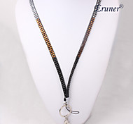 Eruner®Colorful Four Color Diamante Rhinestone Crystal Bling Lanyard(Black and whit
