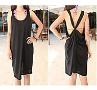 Women's Fashion Solid Back Cross Cotton Swimwear Swimsuit Bikini Beach Cover Up Holiday dress
