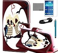 caso padrão da coruja coração couro pu Coco fun® com filme e cabo USB e caneta para samsung galaxy grande 2 g7106