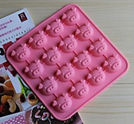 16 Hole Pig Shape Cake Ice Jelly Chocolate Molds,Silicone 17×17×1.8 CM(6.7×6.7×0.8 INCH)
