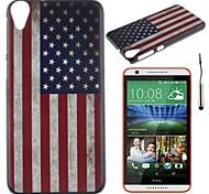 la bandera nacional retro de EE.UU. patrón pc caso duro con el lápiz táctil para HTC Desire 820