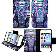 KARZEA™Elephants Tribe PU Leather TPU Back Painting Card Holder Wallet Case with Oval Buckle for iPhone 4/4S