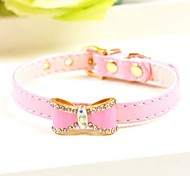 Dog Collars Adjustable/Retractable Red / Black / Blue / Pink PU Leather