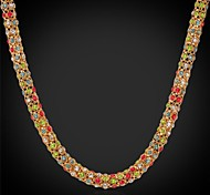U7®18K Real Gold Plated Multicolor Rhinestone Choker Chunky Necklace for Women Fashion Jewelry for Women