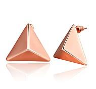 la mode stéréoscopique triangle rose en or rose boucles d'oreille en plaqué or (or rose) (1 paire)