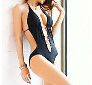 Women's Fashion Sexy Solid Hoop One Piece Swimwear Swimsuit Beach wear