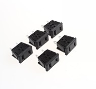 AC Power Outlet Socket 2 Pin Socket Legs 10A / 250V(5Pcs)