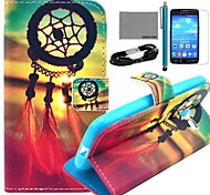COCO FUN® Chinese Knot Pattern PU Leather Case with Film and USB Cable and Stylus for Samsung GALAXY CORE LTE G386F