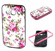 2-in-1 Pink Rose Peony Pattern TPU Back Cover with PC Bumper Shockproof Soft Case for Samsung Trend 3 G3500 G3502