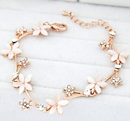 Korean Fashion Sweet Temperament Flash Diamond Flowers Opal Bracelet