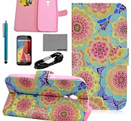 COCO FUN® Purple Star Pattern PU Leather Case with Film and USB Cable and Stylus for Motorala Moto G2 XT1063