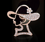 Fashionable Elegant Pink Lady Brooch