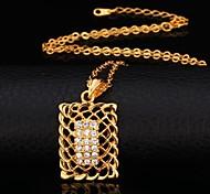 U7®Hollow Rectangle Pendant Necklace 18K Real Gold Plated Rhinestone Choker Necklace Fashion Jewelry