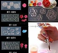4 style Art fleurs acryliques 3d ongles moule décoration mode bricolage