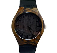 Men's Dress Watch Black Sandalwood Wooden Watch Vogue Quartz Watch 100% Cow Leather Band