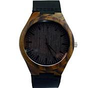 relógio de vestido preto de relógio de madeira de sândalo vogue quartzo dos homens assistir 100% banda de couro de vaca