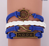 Eruner®Leather Bracelets Multilayer Alloy Hope and Infinite Charms Handmade Bracele