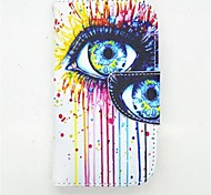 Eyes Pattern PU Leather Full Body Case with Card Slot and Stand for S3 Mini I8190N