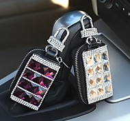 LEBOSH™Cow Leather Luxurious Crystal Genuine Leather Key Bag