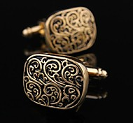 Toonykelly Fashion Men's Silver Copper Gold Enamel Cufflink(Gold)(1 Pair)