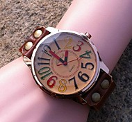 Women's Personalized Colorful Digital Dial Leather Quartz Movement Watches