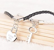 "Z&X® ""I Love You"" Lock Key Black And White PU Leather Couple Bracelets  (1 pair)"