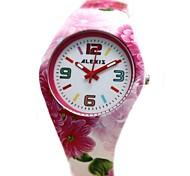 rosa pulseira de silicone rodada movimento de quartzo japonês das mulheres assistir fw922f